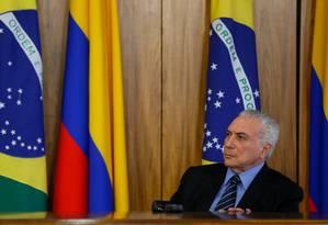 O presidente Michel Temer, durante visita do presidente da Colômbia, Juan Manuel dos Santos Foto: Beto Barata/Presidência