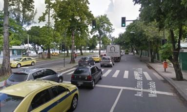 Local da tentativa de assalto na Lagoa, na Zona Sul do Rio Foto: Reprodução/Google Street View