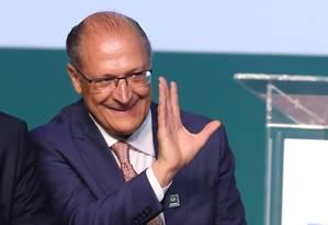 O governador de São Paulo, Geraldo Alckmin, durante cerimônia em Brasília Foto: Ailton de Freitas/Agência O Globo/12-03-2018