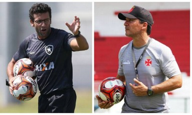 Alberto Valentim, à esquerda, técnico do Botafogo, e Zé Ricardo, do Vasco, voltam a se enfrentar nesta quarta Foto: Divulgação Vasco e Botafogo