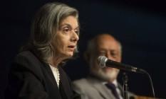 A presidente do Supremo Tribunal Federal (STF), Cármen Lúcia, em palestra na ABL Foto: Guito Moreto / Agência O Globo
