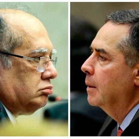 Os ministros Gilmar Mendes e Luís Roberto Barroso, do Supremo Tribunal Federal Foto: Montagem sobre fotos de Jorge William