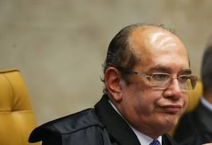 O ministro Gilmar Mendes durante a sessão acalorada no STF Foto: Ailton de Freitas / Agência O Globo