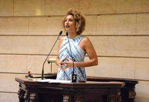 Vereadora Marielle Franco, em discurso na Câmara Foto: Divulgação/Renan Olaz/CMRJ