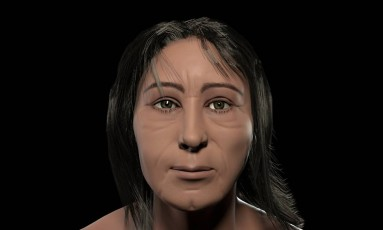 O rosto de 'Ernesto', reconstruído a partir de crânio de cerca de 2 mil anos de idade encontrado em sítio arqueológico na Zona Oeste do Rio Foto: Divulgalção/Museu Nacional/UFRJ