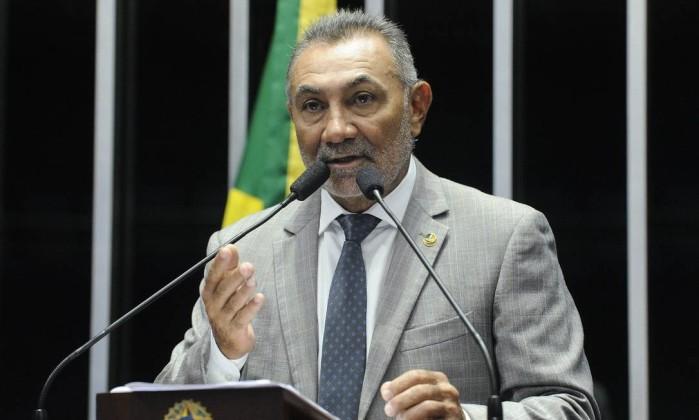 O senador Telmário Mota (PTB-RR) discursa no plenário do Senado Foto: Geraldo Magela/Agência Senado
