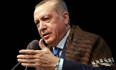 Presidente turco Recep Tayyip durante discurso em Ancara Foto: HANDOUT / REUTERS