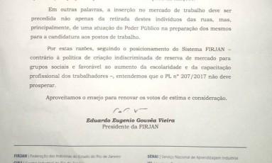 Carta da Firjan enviada aos vereadores da Câmara Municipal do Rio de Janeiro Foto: Reprodução