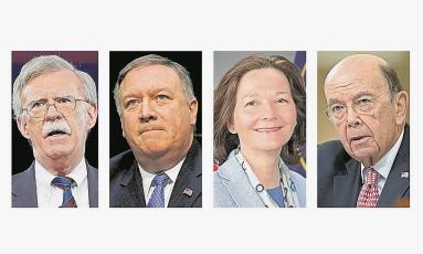 Bolton, Pompeo, Haspel e Ross: time nacionalista Foto: Montagem