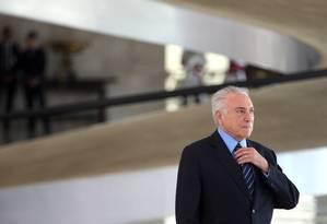O presidente Michel Temer, durante cerimônia no Palácio do Planalto Foto: Givaldo Barbosa/Agência O Globo/20-03-2018