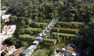 Fotomontagem mostra como ficará o novo campus do prédio do Instituto de Matemática Pura e Aplicada (IMPA), no Horto, Zona Sul Foto: Divulgação/IMPA / Divulgação/IMPA