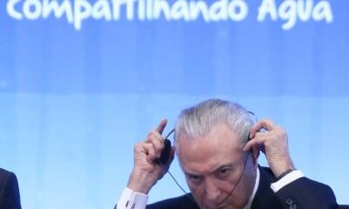 O presidente Michel Temer participa da sessão de abertura do 8º Fórum Mundial da Água: aquífero Guarani é bem público Foto: Ailton de Freitas/19-03-2018
