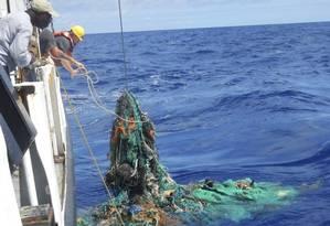 Cientistas começaram a mapear a região em 2015, com 18 embarcações que recolheram amostras de lixo Foto: Divulgação/The Ocean Cleanup Foundation
