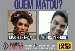 O cartaz do Disque-Denúncia pede informações sobre o crime Foto: Divulgação