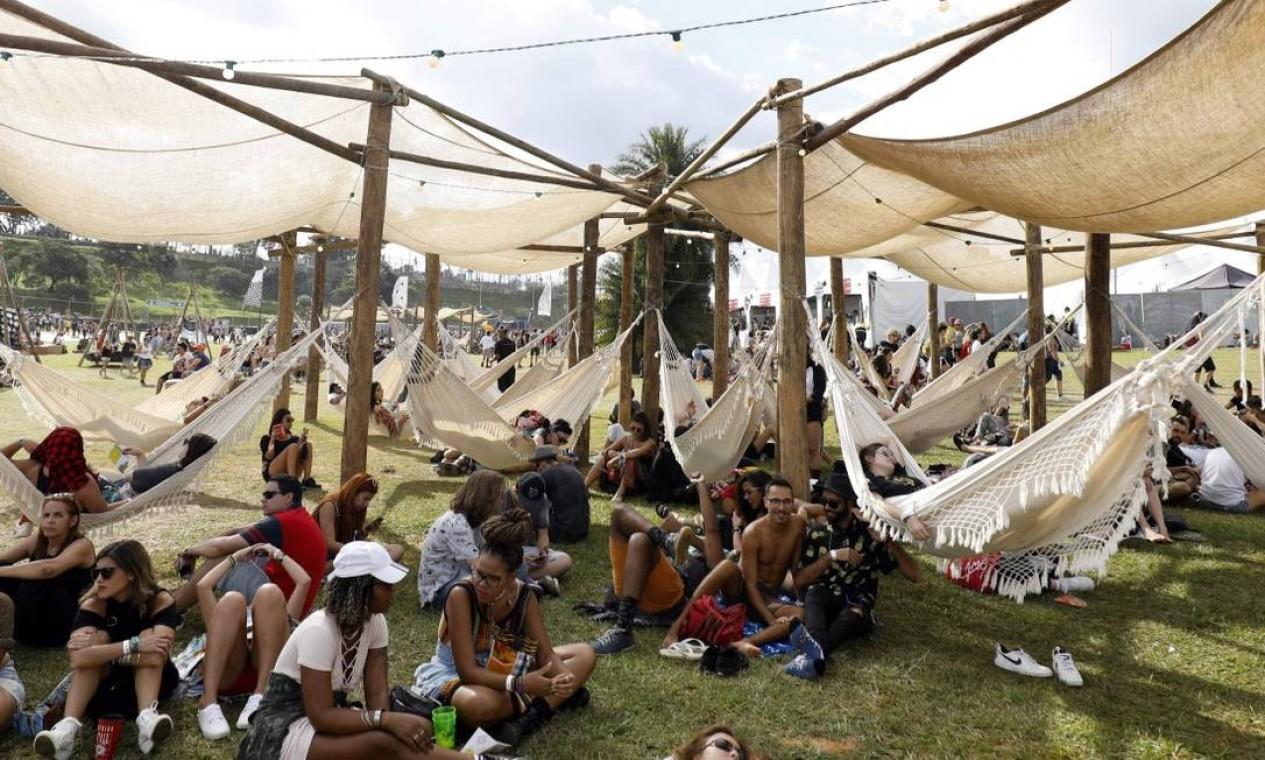 """As redes fizeram sucesso para aquele """"relax"""" entre uma apresentação e outra Foto: Lucas Tavares / Agência O Globo"""