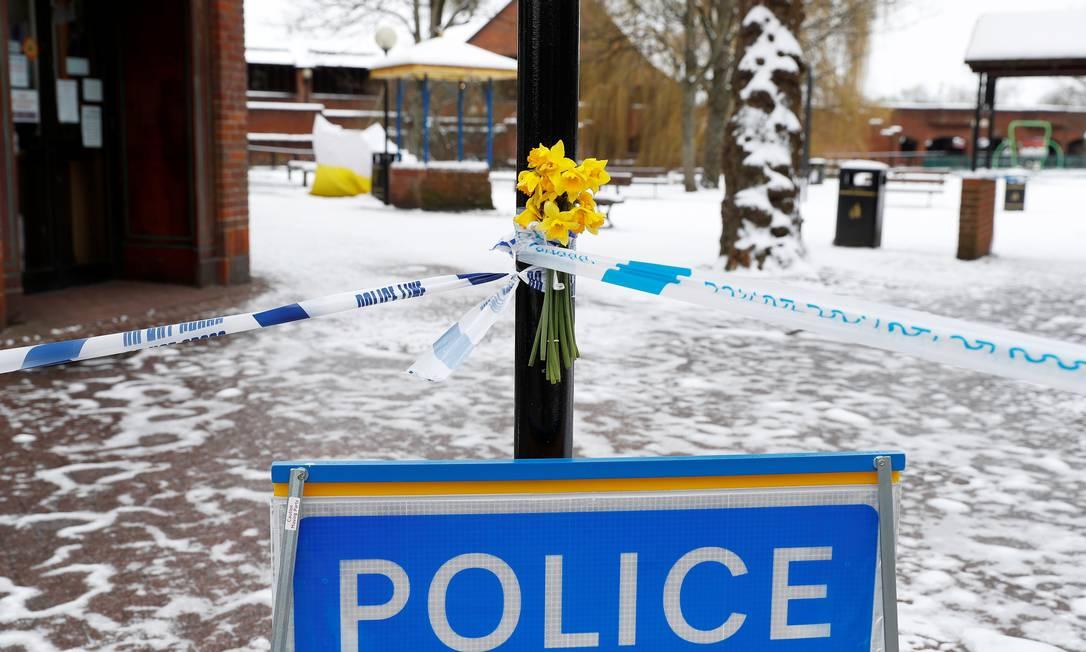 Local em que ataque ocorreu e mantido isolado em Salisbury Foto: PETER NICHOLLS / REUTERS