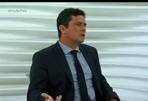 O juiz Sergio Moro é entrevistado no programa Roda Vida, da TV Cultura Foto: Reprodução