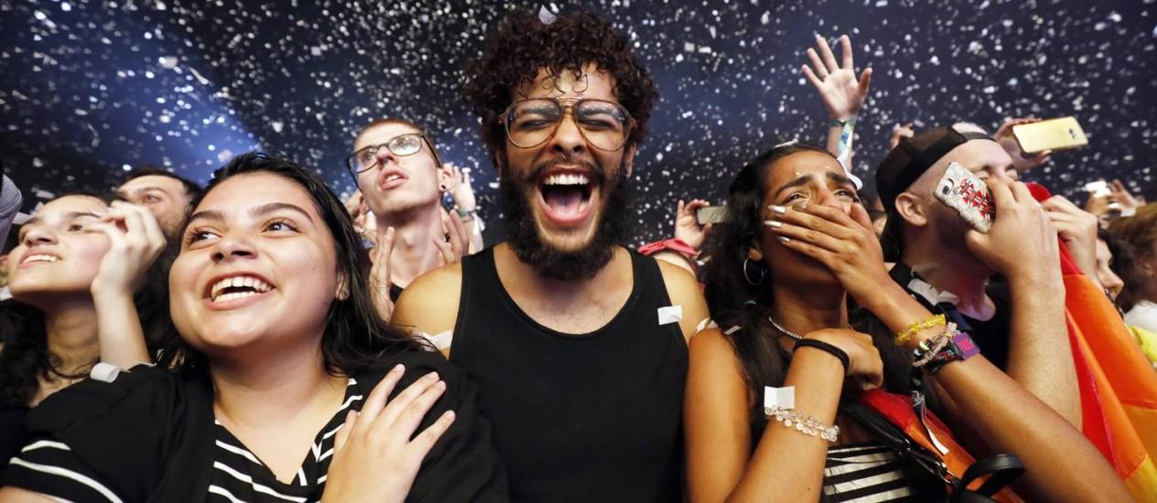 Público durante a apresentação da banda Imagine Dragons no Lollapalooza Brasil Foto: Lucas Tavares / Agência O Globo