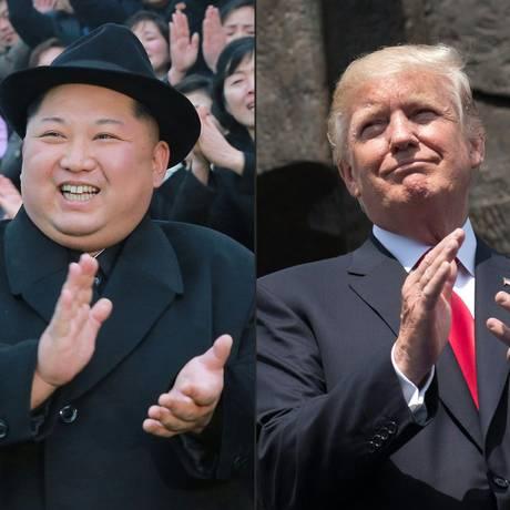 Combinação de fotos mostrando o líder norte-coreano Kim Jong-un e o presidente dos EUA, Donald Trump Foto: Agência Coreana Central de Notícias (KCNA) da Coreia do Norte (esquerda) / AFP