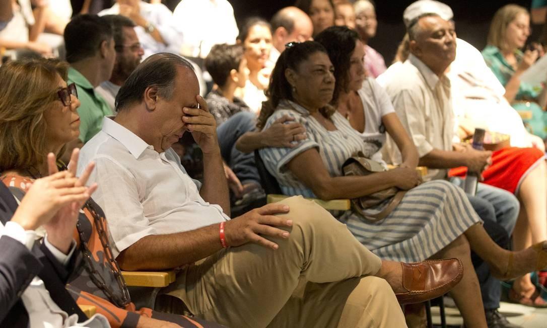 O governador Pezão na reabertura da Biblioteca Parque de Manguinhos Foto: Márcia Foletto / Agência O Globo