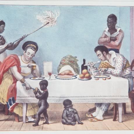 'Um jantar brasileiro', de Jean Baptiste Debret Foto: Reprodução
