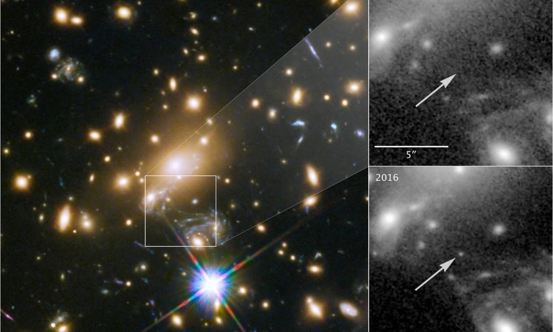 Imagem do aglomerado de galáxias MACS J1149+2223 e sua lente gravitacional, com a estrela, apelidada Icarus, não aparecendo em observações de 2011 e 'surgindo' em imagem de 2016 ao ter sua luz amplificada por combinação do fenômeno Foto: / Nasa/ESA/P. Kelly (Universidade de Minnesota)