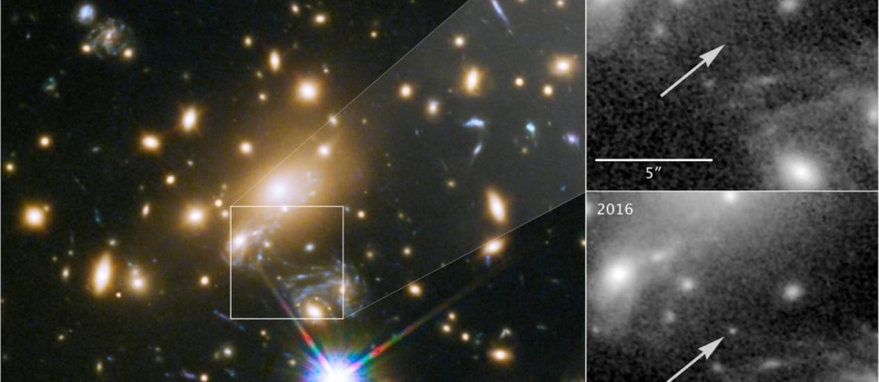 Imagem do aglomerado de galáxias MACS J1149+2223 e sua lente gravitacional, com a estrela, apelidada Icarus, não aparecendo em observações de 2011 e 'surgindo' em imagem de 2016 ao ter sua luz amplificada por combinação do fenômeno Foto: Nasa/ESA/P. Kelly (Universidade de Minnesota)