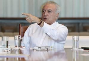 O presidente Michel Temer Foto: Agência O Globo