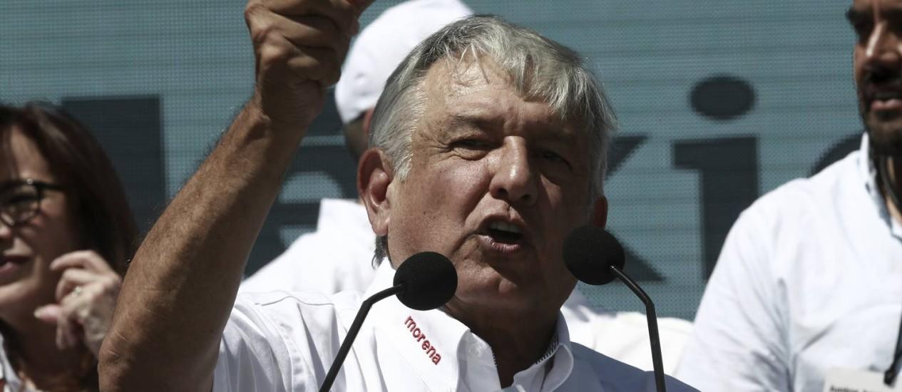 Andres Manuel Lopez Obrador durante lançamento da campanha presidencial em Ciudad Juarez Foto: Christian Torres / AP
