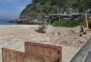 Reparos. O trecho final da galeria, já na praia, foi afetado pelas chuvas Foto: Divulgação/Amasco / Divulgação/amasco