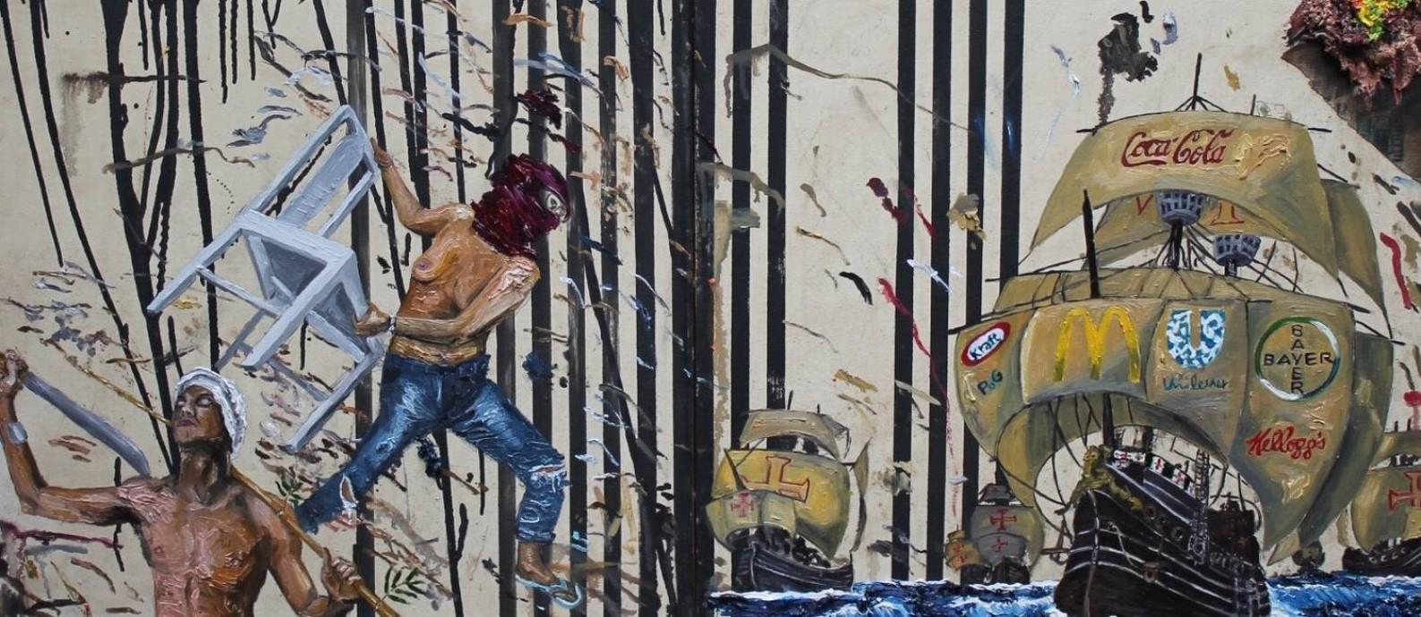 """Obra """"Nois é resistência e num arrega"""", de Camila Soato, presente à bienal: 'Triangulo Atlântico' é o tema Foto: Divulgação"""
