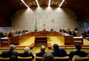 O plenário do Supremo Tribunal Federal durante o julgamento do habeas corpus preventivo do ex-presidente Luiz Inácio Lula da Silva Foto: Adriano Machado / Reuters