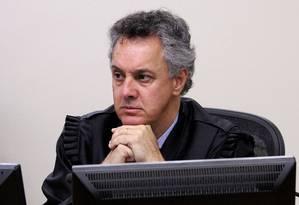 O desembargador João Pedro Gebran durante julgamento de Lula em 24/01/2018 Foto: SYLVIO SIRANGELO / AFP