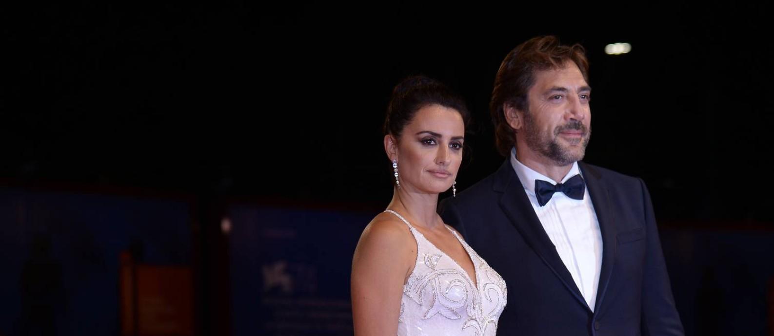 Penelope Cruz e Javier Bardem na premiére de 'Amando Pablo', no Festival de Veneza de 2017 Foto: Filippo Monteforte / AFP