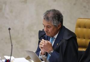 O ministro Marco Aurélio Mello, durante sessão do STF Foto: Ailton de Freitas/Agência O Globo/04-04-2018