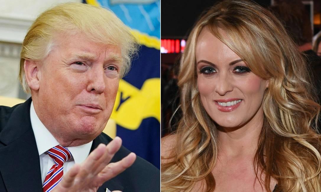 Trump e Stormy Daniels: presidente dos EUA teria ordenado pagamento para silenciar atriz pornô, afirmam promotores Foto: MANDEL NGAN / AFP