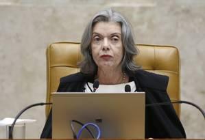 A ministra Cármen Lúcia preside sessão do STF Foto: Ailton de Freitas/Agência O Globo/04-04-2018