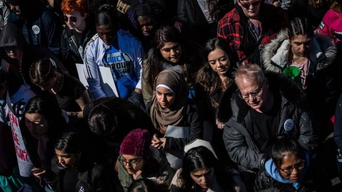 O protesto March for Our Lives, dia 24 de março, levou muita gente para a capital Washington Foto: Salwan Georges/Washington Post