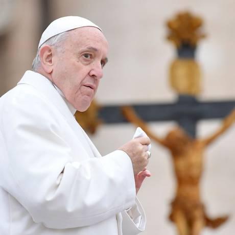 Papa Francisco na Praça São Pedro, do Vaticano Foto: TIZIANA FABI / AFP