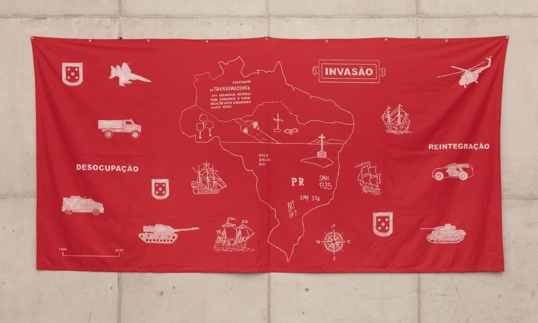 'Invasão': obra de Jaime Laureano reimagina o mapa do Brasil Foto: Divulgação