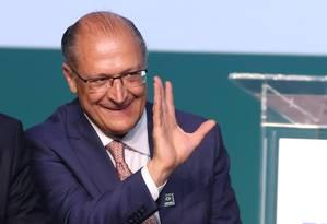 Geraldo Alckmin participa de cerimônia com o presidente Michel Temer Foto: Ailton de Freitas/Agência O Globo/12-03-2018