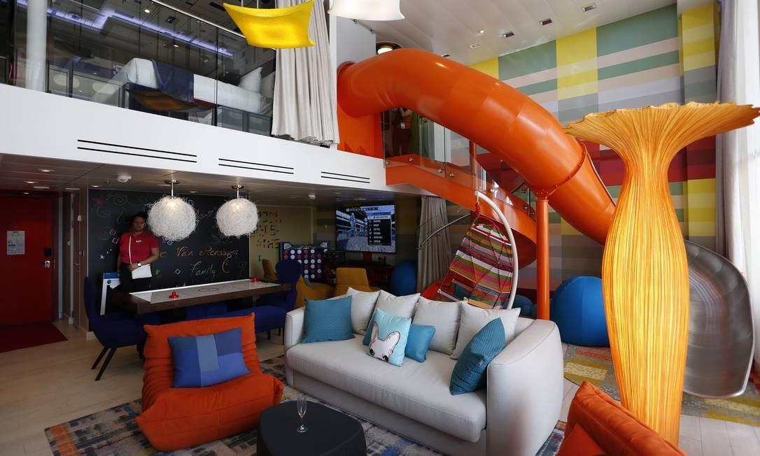 """A """"Ultimate Family Suite"""" tem 125 metros quadrados, dois andares e vários brinquedos que irão deixar adultos e crianças hipnotizadas Foto: Marcelo Carnaval / Agência O Globo"""