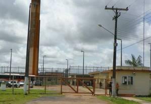 A entrada do Centro de Recuperação Penitenciária do Pará III, alvo de grupo criminoso que usou explosivos para apoiar fuga de presos Foto: Divulgação/Susipe