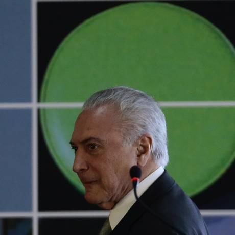 O presidente Michel Temer participa do lançamento da 12ª edição da Agenda Institucional do Cooperativismo Foto: Jorge William / Agência O Globo