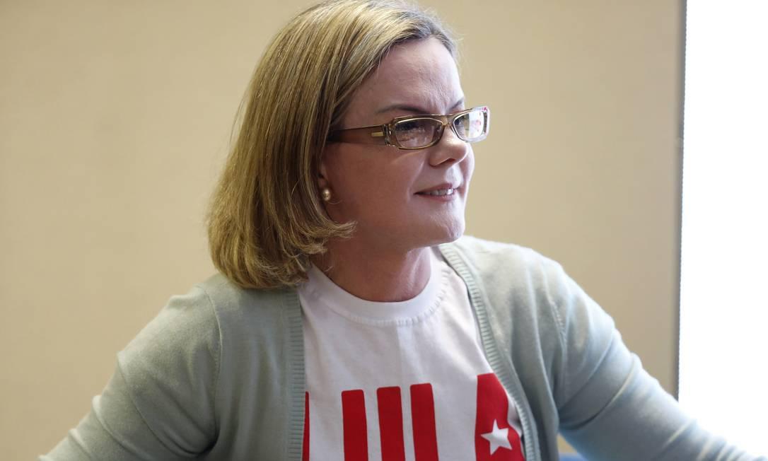 A senadora Gleisi Hoffmann, presidente do PT Foto: Edilson Dantas / Agência O Globo / 21-9-17