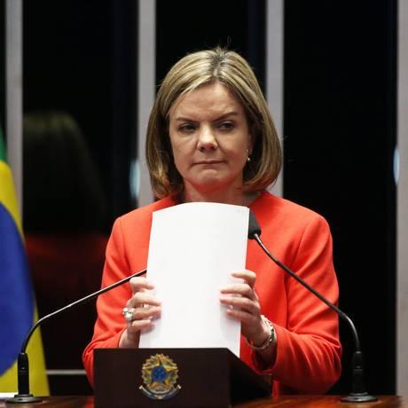 A senadora Gleisi Hoffmann, presidente do PT Foto: Ailton de Freitas / Agência O Globo/12-7-17
