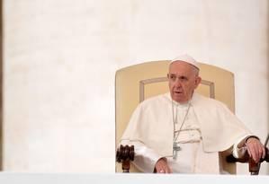 O Papa Francisco, em audiência semanal na Praça de São Pedro, no Vaticano Foto: TIZIANA FABI / AFP