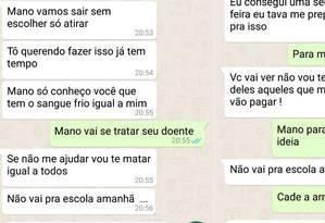 Mensagens de jovem geraram pânico entre estudantes Foto: Divulgação/PM