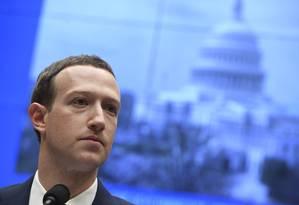 Mark Zuckerberg durante sabatina na Câmara na quarta-feira Foto: SAUL LOEB / AFP