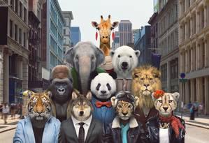 Ilustração mostra os dez animais mais 'carismáticos' identificados pela pesquisa - na ordem: tigres, leões, elefantes, girafas, leopardos, ursos panda, guepardos, ursos polares, lobos cinzentos e gorilas - antropomorfizados em uma cidade Foto: Divulgação/Zoo Portraits